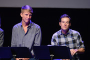 (L-R) Jack McBrayer and Bennie Arthur speak onstage during the 'Drunk History' Live Reading Event at The Montalban on August 15, 2019 in Hollywood, California.