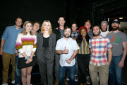(L-R) Greg Tuculescu, Maria Blasucci, Rich Fulcher, Evan Rachel Wood, Colin Hanks, Derek Waters, Bennie Arthur, Lyric Lewis, Jack McBrayer, Jeremy Konner, Seth Rogen, and Martin Starr pose backstage during the 'Drunk History' Live Reading Event at The Montalban on August 15, 2019 in Hollywood, California.