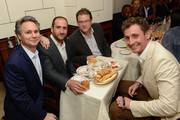 (L-R) DuJour founder and CEO Jason Binn, Dustin Cohn, David Blumenfeld, and Nick English attend DuJour's Jason Binn and Bremont Watch Company's Nick English intimate influencers dinner at Harry Cipriani on October 13, 2015 in New York City.