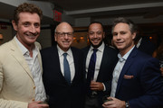 (L-R) Co-founder Nick English, president and CEO, Vector Group Ltd. Howard Lorber, founder and CEO Four Hunderd Tony Abrams and founder and CEO, DuJour Media Jason Binn attend DuJour's Jason Binn and Bremont Watch Company's Nick English intimate influencers dinner at Harry Cipriani on October 13, 2015 in New York City.