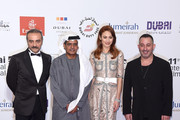 "Actor Yilmaz Erdogan, DIFF Chairman Abdulhamid Juma and actors Olga Kurylenko and Cem Yilmaz attend ""The Water Diviner"" premiere during day two of the 11th Annual Dubai International Film Festival held at the Madinat Jumeriah Complex on December 11, 2014 in Dubai, United Arab Emirates."