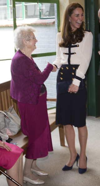 Catherine, Duchess Of Cambridge meets veteran Alma Wightman as she tours the of the restored WWII Codebreaking Huts at Bletchley Park on June 18, 2014 in Bletchley, England. The pre-fabricated wooden huts that housed the secret Government code breaking school during WWII, where encrypted messages sent by the Navy, Army and Air Forces of Germany and its allies were decrypted, translated and analysed for vital intelligence, have undergone a year long restoration.