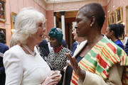 Camilla, Duchess of Cornwall speaks to Baroness Amos as she hosts a Women of the World reception at Buckingham Palace on March 8, 2017 in London, England.