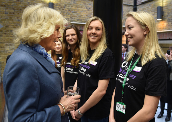 Camilla, Duchess of Cornwall meets veterinary student Jade Johnson (right) on February 26, 2015 in London, United Kingdom. HRH The Duchess of Cornwall was on a visit to Beaumont Sainsbury Animal Hospital, at the Royal Veterinary College in Camden, North London, where she met staff, students and patients. Her visit enabled her to see how the Animal Care Trust (of which she is Patron) funds state of the art animal care.