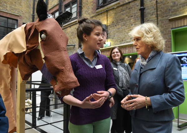 Camilla, Duchess of Cornwall meets student Jess Mullard who made a horse head from cloth on February 26, 2015 in London, United Kingdom. HRH The Duchess of Cornwall was on a visit to Beaumont Sainsbury Animal Hospital, at the Royal Veterinary College in Camden, North London, where she met staff, students and patients. Her visit enabled her to see how the Animal Care Trust (of which she is Patron) funds state of the art animal care.