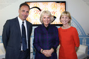 Anthony Horowitz, Camilla, Duchess of Cornwall and Kate Mosse during an official visit to The London Book Fair at Earls Court on April 9, 2014 in London, England.
