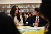 Meghan, Duchess of Sussex speaks to stundents during a visit to Robert Clack School in Dagenham ahead of International Women's Day (IWD) held on Sunday 8th March, on March 6, 2020 in London, England.