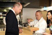 Prince William, Duke of Cambridge is presented his signature bento box by Executive Chef Akira Shimizu during The Official Opening of Japan House London, the new Cultural Home of Japan in the UK on September 13, 2018 in London, England.