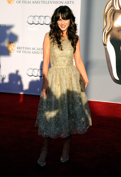 Actress Zooey Deschanel arrives at the BAFTA Brits To Watch event held at the Belasco Theatre on July 9, 2011 in Los Angeles, California.