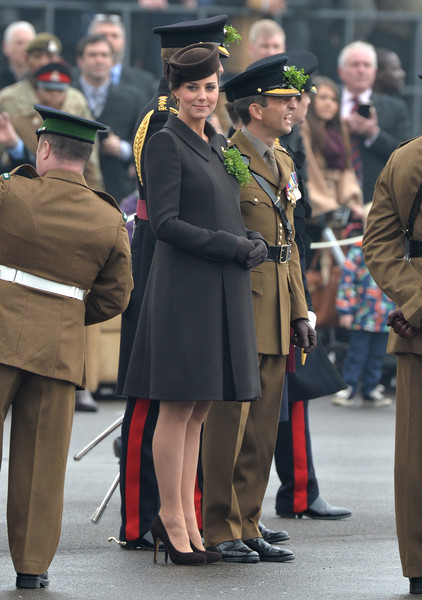 Catherine, Duchess of Cambridge during the St Patrick's Day Parade at Mons Barracks on March 17, 2015 in Aldershot, England.
