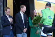 Prince William, Duke of Cambridge and Catherine, Duchess of Cambridge chat with leader's yellow jersey Marcel Kittel of Germany and Team Giant-Shimano after he won stage one and claimed the overall race lead in the 2014 Tour de France from Leeds to Harrogate on July 5, 2014 in Harrogate, United Kingdom. Spectators and residents prepare themselves and gather on the streets as they get ready to watch Stage 1 of the Tour de France on July 5, 2014 in Harrogate, United Kingdom. The world's greatest cycle race, the Tour de France starts for the first time in its history in Yorkshire this weekend. The event is expected to bring thousands of cycling fans to the region.