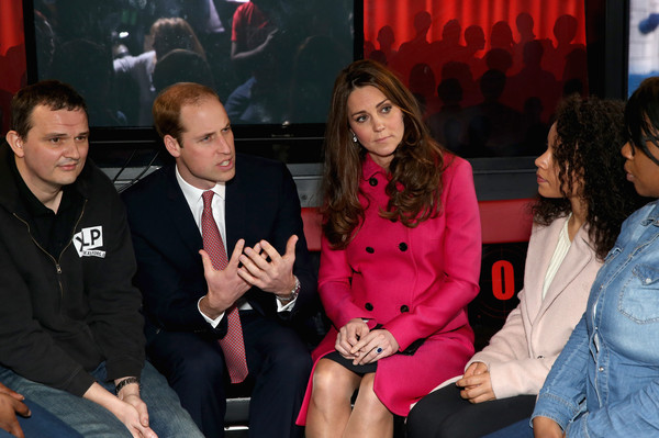 Catherine, Duchess of Cambridge and Prince William, Duke of Cambridge chat with young people on the top deck of the XLP Mobile recording Studio on March 27, 2015 in London, England.