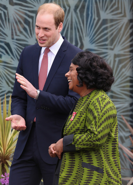 Prince William, Duke of Cambridge chats to Baroness Lawrence of Clarendon as he leaves the Stephen Lawrence Centre on March 27, 2015 in London, England.