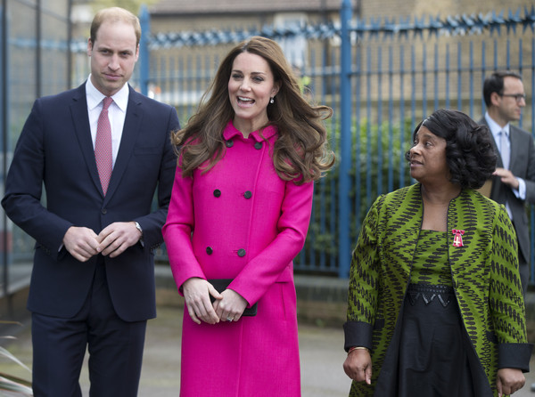 Catherine, Duchess of Cambridge and Prince William, Duke of Cambridge talk to Stephen Lawrence's mother Baroness Doreen Lawrence (R) as they leave the Stephen Lawrence Centre in Deptford on March 27, 2015 in London, England. The centre is built in memory of 19 years old Stephen Lawrence, who was stabbed to death by a group of white youths in April 1993 as he was waiting for a bus.