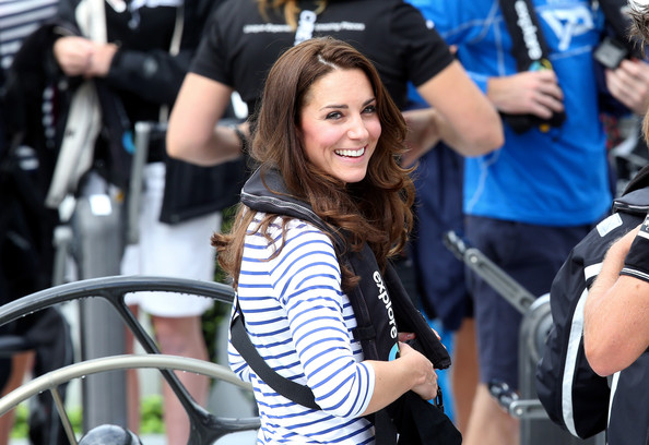 Catherine, Duchess of Cambridge onboard a Team New Zealand yacht at the Viaduct Basin in Auckland on April 11, 2014 in Auckland, New Zealand. The Duke and Duchess of Cambridge are on a three-week tour of Australia and New Zealand, the first official trip overseas with their son, Prince George of Cambridge.