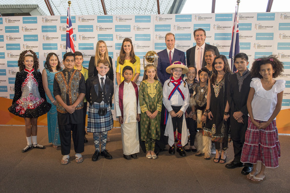 Ellyse Perry, Catherine, Duchess of Cambridge, Prince William, Duke of Cambridge and Gleen McGrath pose with children as they attend a reception hosted by the Governor and Premier of New South Wales on April 16, 2014 in Sydney, Australia. The Duke and Duchess of Cambridge are on a three-week tour of Australia and New Zealand, the first official trip overseas with their son, Prince George of Cambridge.