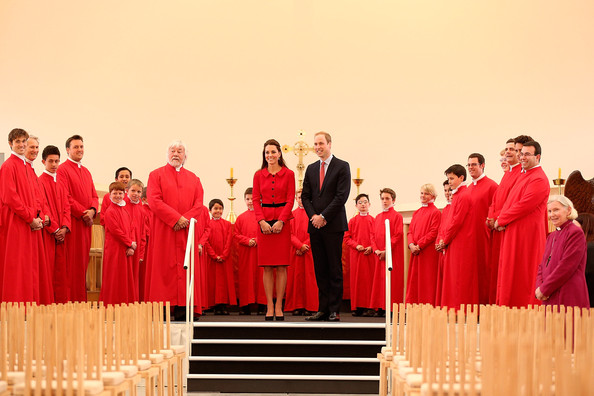 Prince William, Duke of Cambridge and Catherine, Duchess of Cambridge pose with members of the Christchurch Cathedral choir during visit to the Transitional Cathedral on April 14, 2014 in Christchurch, New Zealand. The Duke and Duchess of Cambridge are on a three-week tour of Australia and New Zealand, the first official trip overseas with their son, Prince George of Cambridge.