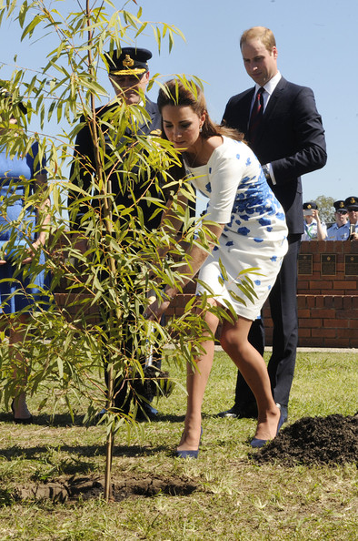 Catherine, Duchess of Cambridge, watched by Prince William, Duke of Cambridge, plants a Plunkett Mallee tree at the Memorial Garden during a visit to the Royal Australian Airforce Base at Amberley on April 19, 2014 in Brisbane, Australia. The Duke and Duchess of Cambridge are on a three-week tour of Australia and New Zealand, the first official trip overseas with their son, Prince George of Cambridge.