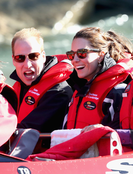 Catherine Duchess of Cambridge and Prince William, Duke of Cambridge travel on the Shotover Jet on the Shotover River on April 13, 2014 in Queenstown, New Zealand. The Duke and Duchess of Cambridge are on a three-week tour of Australia and New Zealand, the first official trip overseas with their son, Prince George of Cambridge.