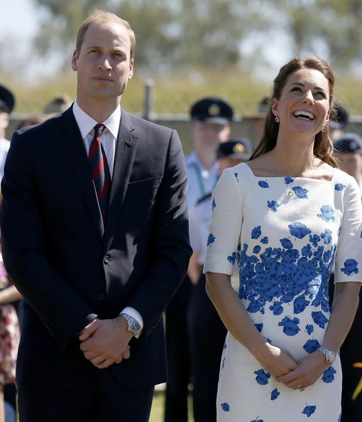 Catherine, Duchess of Cambridge and Prince William, Duke of Cambridge watch a military plane fly past during a visit to the Royal Australian Airforce Base at Amberley on April 19, 2014 in Brisbane, Australia. The Duke and Duchess of Cambridge are on a three-week tour of Australia and New Zealand, the first official trip overseas with their son, Prince George of Cambridge.