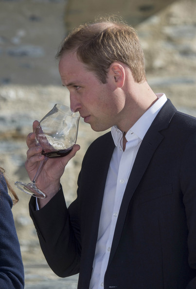Prince William, Duke of Cambridge takes part in wine tasting during a visit to the Amisfield Winery on April 13, 2014 in Queenstown, New Zealand. The Duke and Duchess of Cambridge are on a three-week tour of Australia and New Zealand, the first official trip overseas with their son, Prince George of Cambridge.