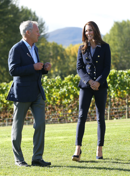 Catherine Duchess of Cambridge visits the Amisfield Winery on April 13, 2014 in Queenstown New Zealand. The Duke and Duchess of Cambridge are on a three-week tour of Australia and New Zealand, the first official trip overseas with their son, Prince George of Cambridge.