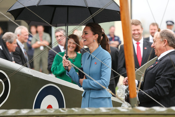 Catherine, Duchess of Cambridge looks on during a visit to Omaka Aviation Heritage Centre with Sir Peter Jackson on April 10, 2014 in Blenheim, New Zealand. The Duke and Duchess of Cambridge are on a three-week tour of Australia and New Zealand, the first official trip overseas with their son, Prince George of Cambridge.