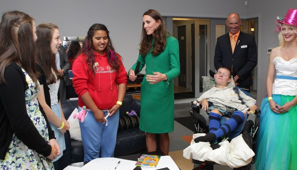 Catherine, Duchess of Cambridge visits Waikato Hospice  Rainbow Place on April 12, 2014 in Cambridge, New Zealand. The Duke and Duchess of Cambridge are on a three-week tour of Australia and New Zealand, the first official trip overseas with their son, Prince George of Cambridge.