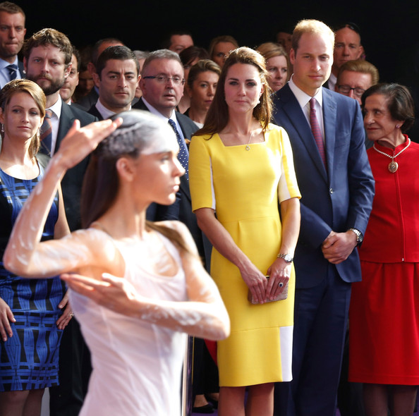 Prince William, Duke of Cambridge and Catherine, Duchess of Cambridge watch an Aboriginal welcome performance during a reception at the Sydney Opera House on April 16, 2014 in Sydney, Australia. The Duke and Duchess of Cambridge are on a three-week tour of Australia and New Zealand, the first official trip overseas with their son, Prince George of Cambridge.
