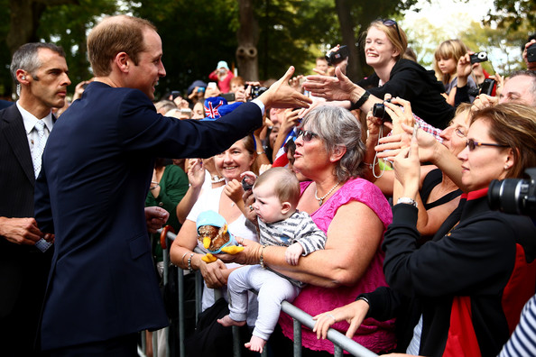 Prince William, Duke of Cambridge meets with the public in the Cambridge town centre on April 12, 2014 in Cambridge, New Zealand. The Duke and Duchess of Cambridge are on a three-week tour of Australia and New Zealand, the first official trip overseas with their son, Prince George of Cambridge.