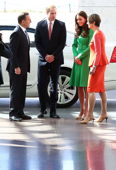 Prime Minister Tony Abbott (L) and his wife Margie Abbott (R), greet Prince William, Duke of Cambridge (2nd L) and Catherine, Duchess of Cambridge (2nd R) on their arrival for a reception hosted by the Prime Minister of Australia at Parliament House on April 24, 2014 in Canberra, Australia. The Duke and Duchess of Cambridge are on a three-week tour of Australia and New Zealand, the first official trip overseas with their son, Prince George of Cambridge.