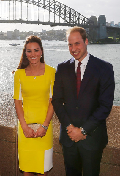 Prince William, Duke of Cambridge and Catherine, Duchess of Cambridge pose in front of the Sydney Harbour Bridge at a reception at the Sydney Opera House on April 16, 2014 in Sydney, Australia. The Duke and Duchess of Cambridge are on a three-week tour of Australia and New Zealand, the first official trip overseas with their son, Prince George of Cambridge.