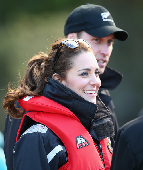 Catherine Duchess of Cambridge and Prince William, Duke of Cambridge disembark the Shotover Jet on the Shotover River on April 13, 2014 in Queenstown, New Zealand. The Duke and Duchess of Cambridge are on a three-week tour of Australia and New Zealand, the first official trip overseas with their son, Prince George of Cambridge.