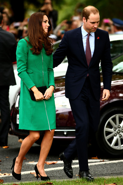 Prince William, Duke of Cambridge (R) and Catherine, Duchess of Cambridge (L) arrive at the Cambridge Town Hall on April 12, 2014 in Cambridge, New Zealand. The Duke and Duchess of Cambridge are on a three-week tour of Australia and New Zealand, the first official trip overseas with their son, Prince George of Cambridge.