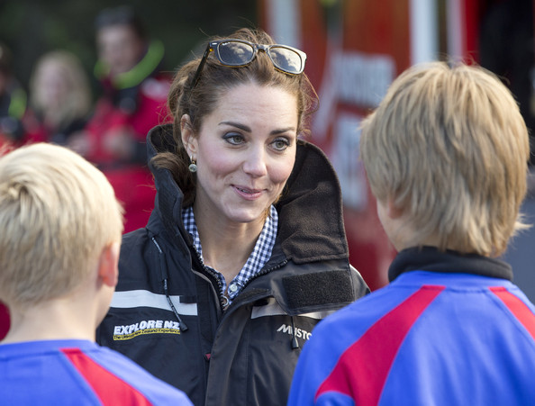 Catherine Duchess of Cambridge speaks with students before boarding the Shotover Jet on the Shotover River on April 13, 2014 in Queenstown, New Zealand. The Duke and Duchess of Cambridge are on a three-week tour of Australia and New Zealand, the first official trip overseas with their son, Prince George of Cambridge.