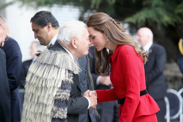 Catherine Duchess of Cambridge performs the traditional Maori greeting of the 'Hongi' as she visits Christchurch City Council Buildings on April 14, 2014 in Christchurch, New Zealand. The Duke and Duchess of Cambridge are on a three-week tour of Australia and New Zealand, the first official trip overseas with their son, Prince George of Cambridge.