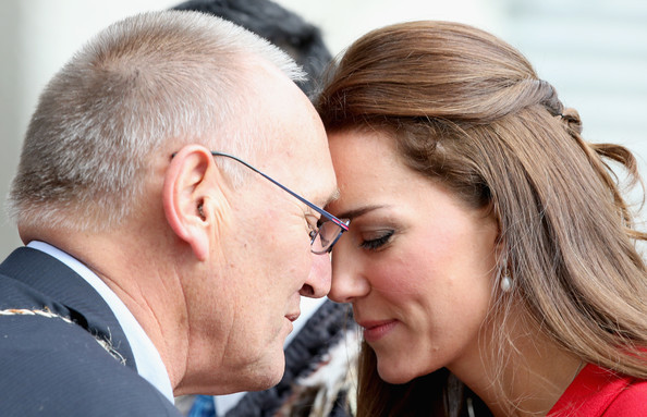 Catherine, Duchess of Cambridge performs the traditional Maori greeting of the 'Hongi' as she visits Christchurch City Council Buildings on April 14, 2014 in Christchurch, New Zealand. The Duke and Duchess of Cambridge are on a three-week tour of Australia and New Zealand, the first official trip overseas with their son, Prince George of Cambridge.