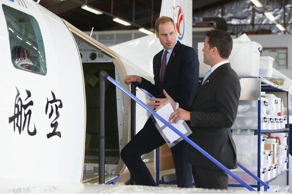 Prince William, Duke of Cambridge is shown a plane as he visits Pacific Aerospace on April 12, 2014 in Hamilton, New Zealand. The Duke and Duchess of Cambridge are on a three-week tour of Australia and New Zealand, the first official trip overseas with their son, Prince George of Cambridge.