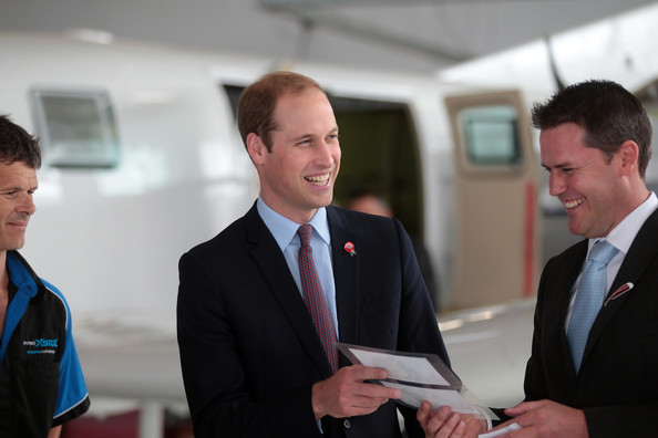 Prince William, Duke of Cambridge visits aircraft manufacturer Pacific Aerospace with Pacific Aerospace CEO Damian Camp (R) outside Hamilton on April 12, 2014 in Waikato, New Zealand. The Duke and Duchess of Cambridge are on a three-week tour of Australia and New Zealand, the first official trip overseas with their son, Prince George of Cambridge.