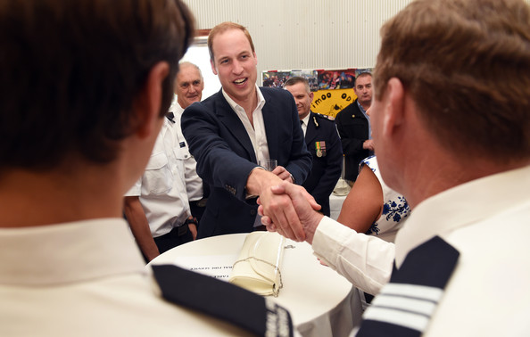 Prince William, Duke of Cambridge meets with emergency services personnel at Winmalee, an area in the Blue Mountains heavily affected by bushfires last year, on April 17, 2014 in Winmalee, Australia. The Duke and Duchess of Cambridge are on a three-week tour of Australia and New Zealand, the first official trip overseas with their son, Prince George of Cambridge.