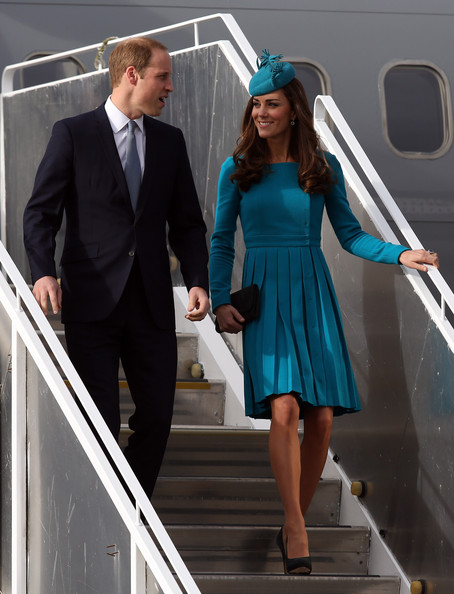 Prince William, Duke of Cambridge and Catherine, Duchess of Cambridge arrive at Dunedin International Airport on April 13, 2014 in Dunedin, New Zealand. The Duke and Duchess of Cambridge are on a three-week tour of Australia and New Zealand, the first official trip overseas with their son, Prince George of Cambridge.