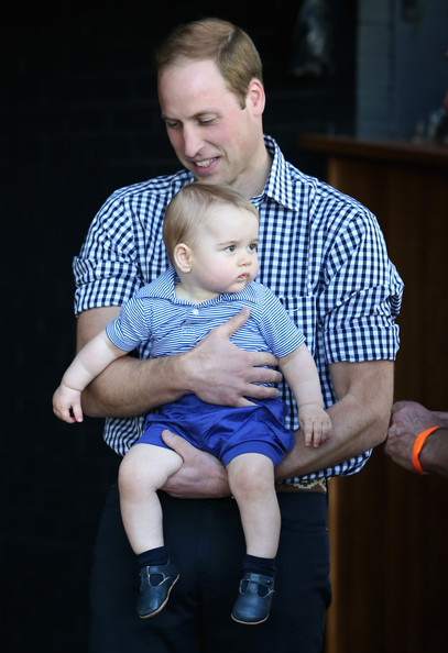 Prince William, Duke of Cambridge holds  Prince George of Cambridge as they look at a Bilby called George at Taronga Zoo on April 20, 2014 in Sydney, Australia. The Duke and Duchess of Cambridge are on a three-week tour of Australia and New Zealand, the first official trip overseas with their son, Prince George of Cambridge.