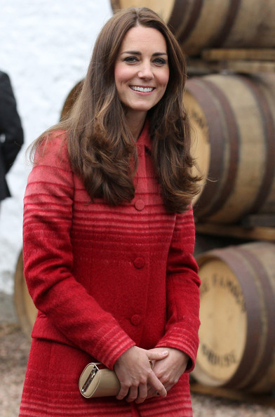 Catherine, Duchess of Cambridge is given a tour of The Famous Grouse Distillery on May 29, 2014 in Crieff, Scotland. The Duke and Duchess of Cambridge will spend the day in Scotland where they will tour a distillery and visit a village fete.
