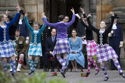 Prince William, Duke of Cambridge and Catherine, Duchess of Cambridge watch Highland dancers perform during a Beating of the Retreat at the Palace of Holyroodhouse on May 27, 2021 in Edinburgh, Scotland.