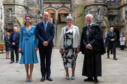 Prince William, Duke of Cambridge and Catherine, Duchess of Cambridge stand with Lady Wallace and Lord Jim Wallace as they attend the closing ceremony of the General Assembly on May 27, 2021 in Edinburgh, Scotland.