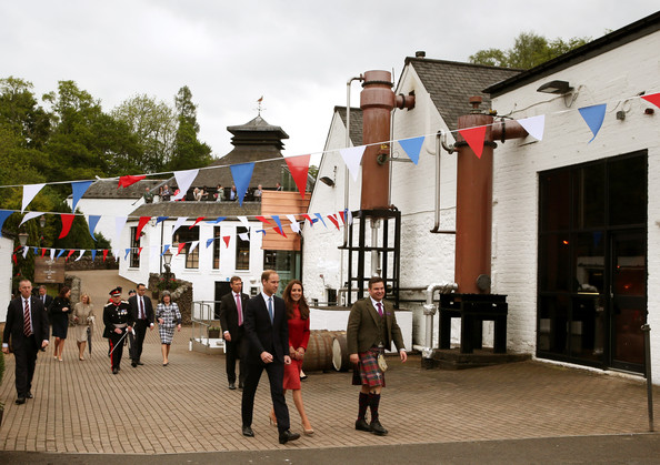 Catherine, Duchess of Cambridge and Prince William, Duke of Cambridge are given a tour of The Famous Grouse Distillery on May 29, 2014 in Crieff, Scotland. The Duke and Duchess of Cambridge will spend the day in Scotland where they will tour a distillery and visit a village fete.