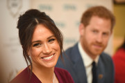 Meghan, Duchess of Sussex and Prince Harry, Duke of Sussex attend a roundtable discussion on gender equality with The Queens Commonwealth Trust (QCT) and One Young World at Windsor Castle on October 25, 2019 in Windsor, England.
