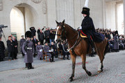 Prince Philip, Duke of Edinburgh and Prince Laurent of Belgium visit Ypres Menin Gate where they attend a Ceremony  for Flanders Fields Memorial Gardens on November 11, 2013 in Ypres, Belgium.