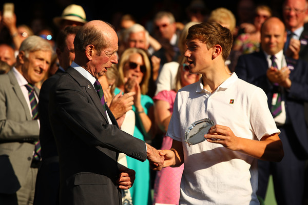 Day Thirteen: The Championships - Wimbledon 2018 [event,youth,audience,hand,crowd,gesture,performance,prince edward,jack draper,hands,boys singles,wimbledon,kent,centre court,championships,runner-up,final]