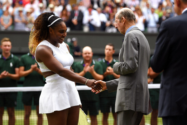Day Twelve: The Championships - Wimbledon 2019 [championship,competition event,tennis,fun,crowd,sports,player,event,tournament,competition,serena williams,prince edward,hands,runners-up trophy,wimbledon,united states,kent,the championships,defeat,final]